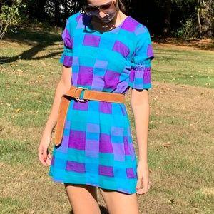 Vintage 1970's Blue Purple Plaid Mod Mini Dress